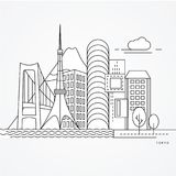 Linear illustration of Tokyo, Japan. Flat one line style. Trendy vector illustration. Architecture line cityscape with famous landmarks, city sights, design vector illustration