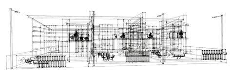 Pencil sketch of the building vector illustration