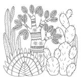 Vector coloring page. Linear image on white background cute cactus for page for coloring book. Contour image of cactus scribble fo. Linear image on white Royalty Free Stock Photo