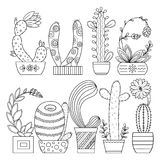 Vector coloring page. Linear image on white background cute cactus for page for coloring book. Contour image of cactus scribble fo royalty free illustration