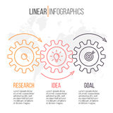 Linear infographics with gears. Business diagram 3 steps. Royalty Free Stock Photos