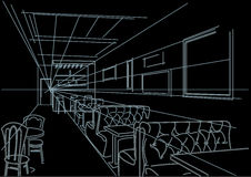 Linear interior sketch of cafe on black background Stock Image