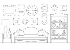 Free Linear Interior With A Sofa, A Bookcase. Vector Illustration In Outline Style. Living Room Stock Images - 143434304