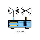 Linear isolated icon - Dual antenna router. Vector linear isolated icon - Dual antenna router. Blue and yellow colors Royalty Free Stock Image