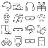 Linear job safety equipment vector icons set. Equipment safety, helmet safety, industry safety illustration vector illustration