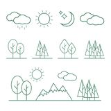 Linear landscape elements icons set. Line trees, flowers, bushes. Water waves, cloud, stones, grass plant in flat style royalty free illustration