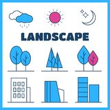Linear landscape elements icons set. Line trees, flowers, bushes, water waves, cloud, stones, grass plant in flat style stock illustration