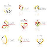 Linear leaf abstract logo set, connected multicolored segments Stock Image