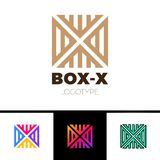 Linear letter X logo monogram in line box or cube. Simple sport logotype symbol. Brown color, gradient and black outline. Royalty Free Stock Photos