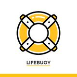 Linear lifebuoy icon. Pictogram in outline style on white. Vector modern flat design element for mobile application and web design. Vector modern flat design Royalty Free Stock Photos