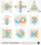 Linear line Graphic design Elements & Infographic Template. Circle Triangle Arrows set. Linear line Graphic design Elements & Infographic Template for cycle Stock Illustration