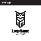 Linear logo of the owl Royalty Free Stock Photography
