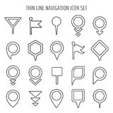 Linear map pin mini icons. Flags and pins, signs arrows thin line symbols Stock Photography