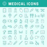 Linear medical icons with fill. A set of simple line medical icons with fill, editable stroke Royalty Free Stock Images