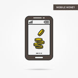 Linear mobile money. Flat phone gold money coin app. Mobile web personal finance technology symbol. Creative mobile dollar coin graphic design. Vector yellow Royalty Free Stock Images