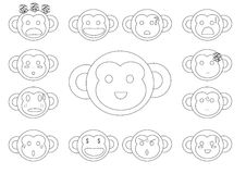 Linear monkey faces emoji Stock Photos