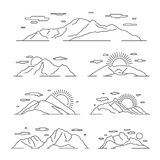 Linear mountains vector illustration. Line mountain alps landscape set Royalty Free Stock Photography