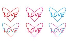 Linear multicolored hearts royalty free stock images