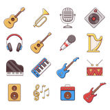 Linear music instruments vector color flat icons Stock Photography