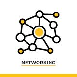 Linear networking icon. Pictogram in outline style. Vector modern flat design element for mobile application and web design. Vector modern flat design element Royalty Free Stock Images