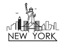 Linear New York City Skyline with Typographic Design. On white background vector illustration