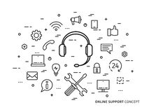 Linear online support flat minimal outline illustration. Linear online support, online service, helpdesk, assistance, consultant, operator flat minimal outline Royalty Free Stock Image