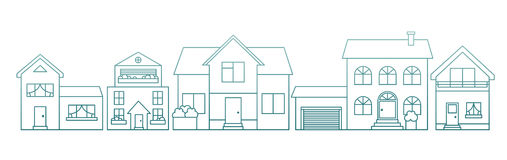 Linear outline style different houses Royalty Free Stock Images