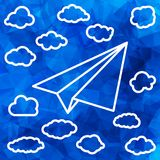 Linear paper airplane with clouds on the abstract   Royalty Free Stock Photography