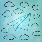 Linear Paper airplane with clouds on the blue abstract triangula Royalty Free Stock Photography
