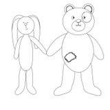 A linear pattern, a cute little Bunny and a cute Teddy bear Royalty Free Stock Photos