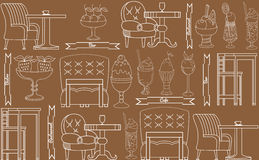 The linear pattern of desserts, ice cream and sweets. The linear pattern of desserts, ice cream, cafe furniture .  Vector illustration Stock Photos