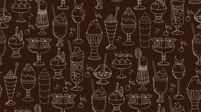 The linear pattern of desserts, ice cream and sweets. Vector illustration Royalty Free Stock Image