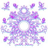Linear pattern of flowers, floral ornament stock illustration
