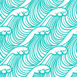 Linear pattern in tropical aqua blue with waves. Simple, elegant linear seamless vector pattern in tropical aqua blue. Texture for web and print, spring fashion vector illustration