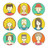 Linear People Icons Royalty Free Stock Photo