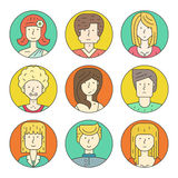 Linear People Icons Stock Photography