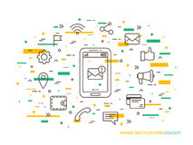 Linear Phone Notification vector illustration. Linear Phone Notification, mail, call, message, note vector illustration. Phone Notification mobile technology Royalty Free Stock Images