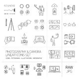 Linear  photography and camera icons set Royalty Free Stock Photo
