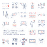 Linear  photography and camera icons set blue and red Stock Image