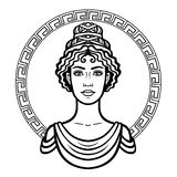 Linear portrait of the young Greek woman with a traditional hairstyle. Decorative circle. Stock Image