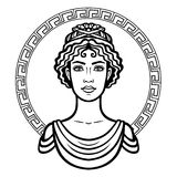Linear portrait of the young Greek woman with a traditional hairstyle. Decorative circle. Royalty Free Stock Images