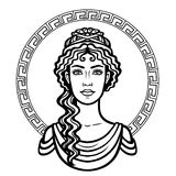 Linear portrait of the young Greek woman with a traditional hairstyle. Decorative circle. Vector illustration isolated on a white background Stock Photos