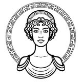 Linear portrait of the young Greek woman with a traditional hairstyle. Decorative circle. Vector illustration isolated on a white background Royalty Free Stock Image