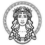 Linear portrait of the young Greek woman with a traditional hairstyle. Decorative circle. Vector illustration isolated on a white background Stock Images