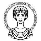 Linear portrait of the young Greek woman with a traditional hairstyle. Decorative circle. Vector illustration isolated on a white background Royalty Free Stock Photo