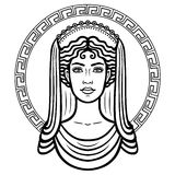 Linear portrait of the young Greek woman with a traditional hairstyle. Decorative circle. Vector illustration isolated on a white background Stock Image