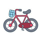 Linear red bicycle on white background. A red bicycle with linear style. Simple and easy for display on any devices or website royalty free illustration