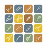 Linear renovation tools flat icons Stock Photography