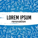 Linear renovation tools vector frame Royalty Free Stock Photo