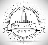 Linear Reykjavik City Silhouette with Typographic Design Royalty Free Stock Photography